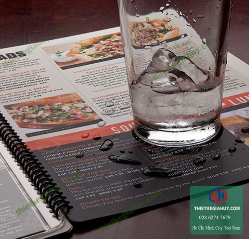 menu nhựa chống nước