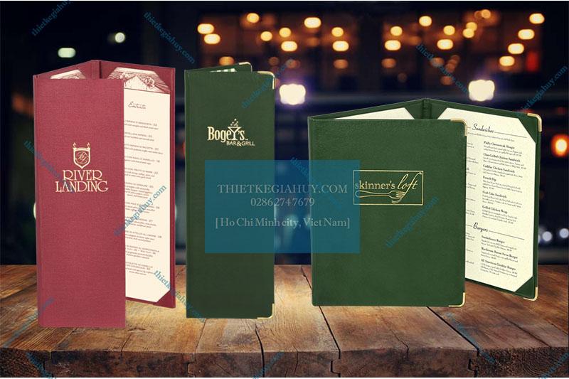 Mẫu menu 3 trang bìa vải/ bìa da cao cấp