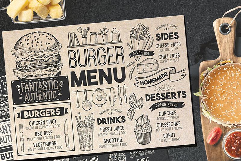 Mẫu menu bang A3, A4 dành cho quán cafe