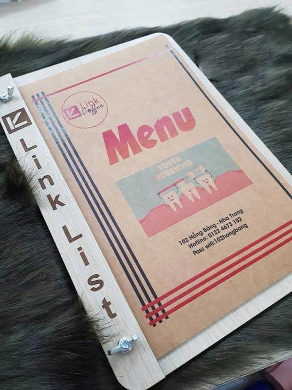 Mẫu menu gỗ cao cấp cho nhà hàng, quán cafe