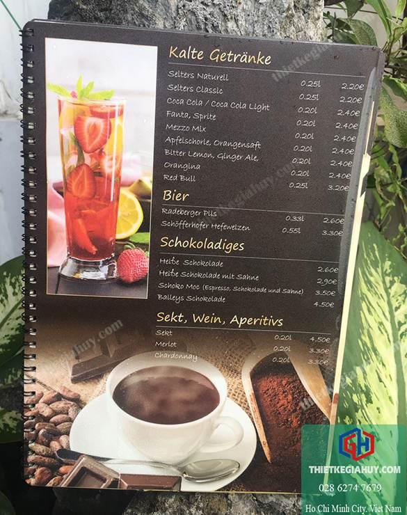 menu chống nước dành cho quắn cafe