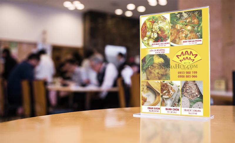 menu để bàn