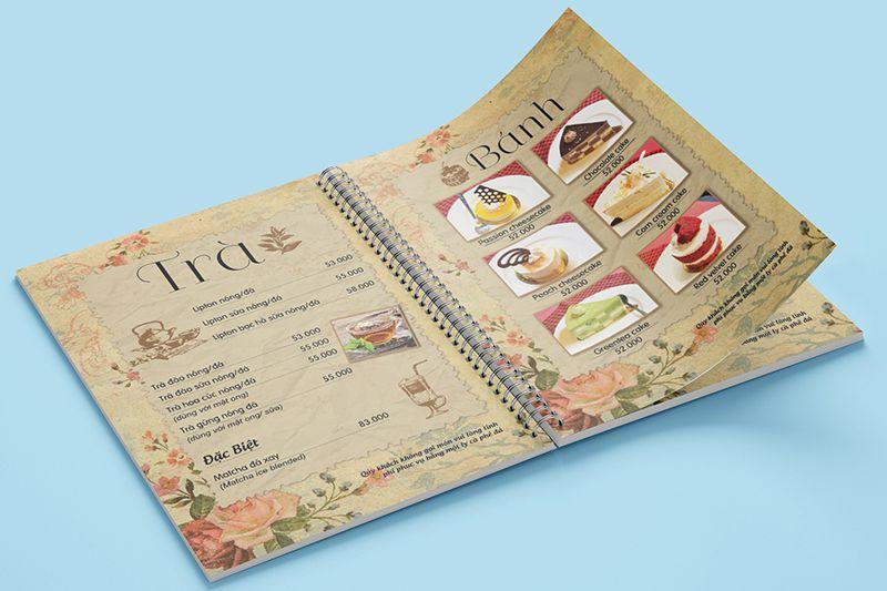 Mẫu menu bìa cứng quán cafe