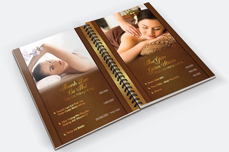 Mẫu menu bìa cứng cho tiệm spa