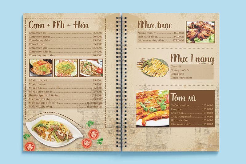 Mẫu menu bìa cứng phong cách cổ điển
