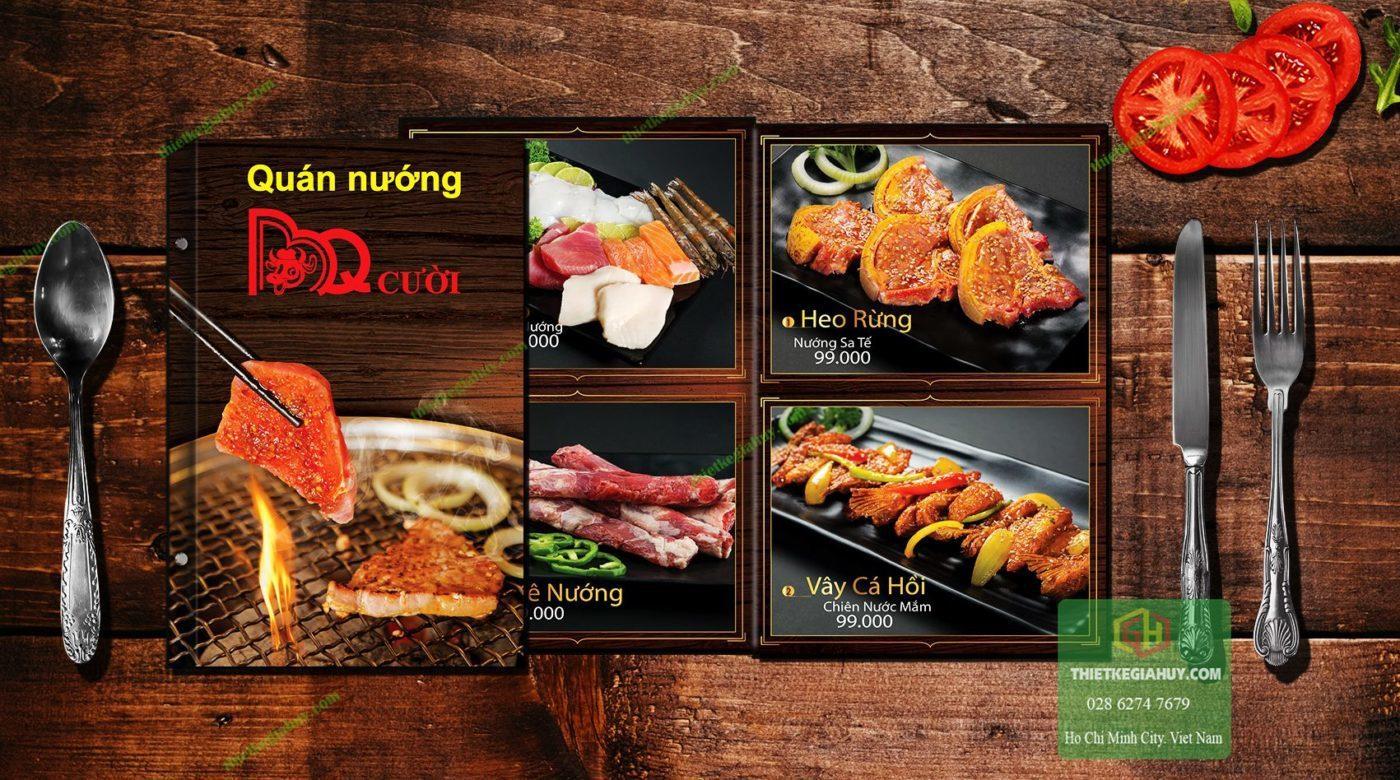 menu quán ăn nướng