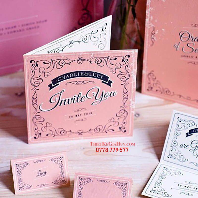 thiệp cưới đẹp màu hồng