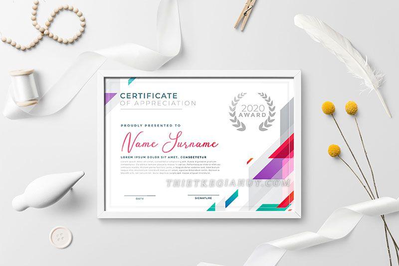 Mẫu thiết kế giấy chứng nhận 2020