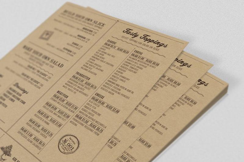 Mẫu menu giấy kraft
