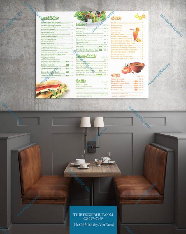Mẫu menu dán tường dành cho quán cafe