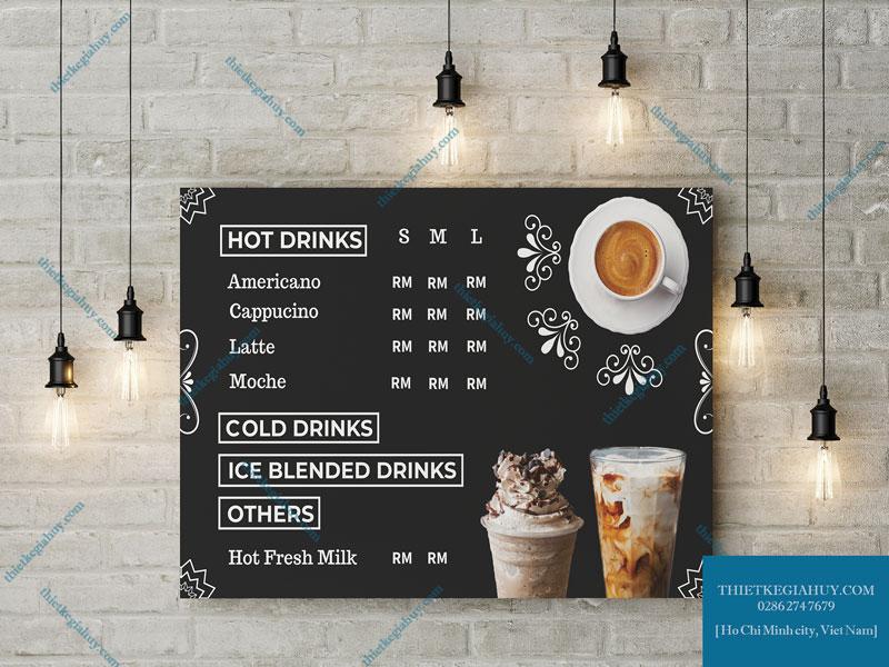 Mẫu menu bảng bồi formex dành cho quán cafe