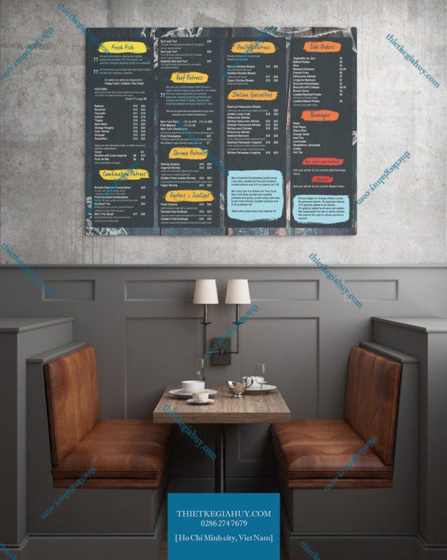 Mẫu thiết kế menu dán tường dành cho quán cafe tại tphcm