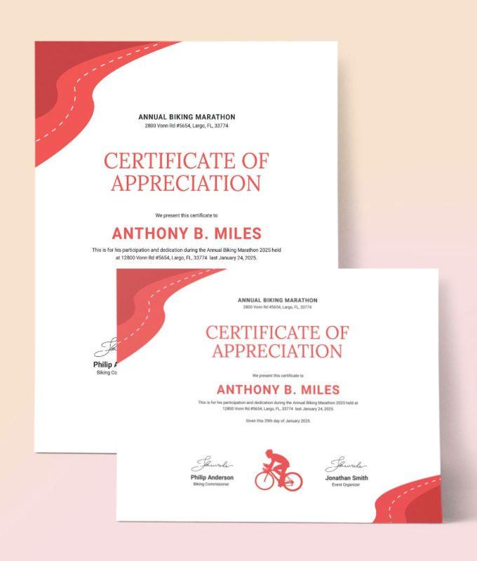 Mẫu thiết kế bằng khen giải đua xe đạp