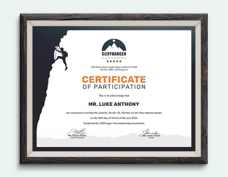 Mẫu bằng khen chứng nhận thành tích leo núi