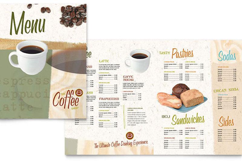 mẫu thiết kế menu cà phê gập đôi