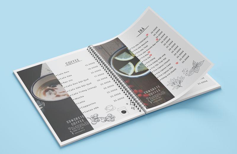 Mẫu thiết kế menu cafe bồi bìa cứng gáy lò xo