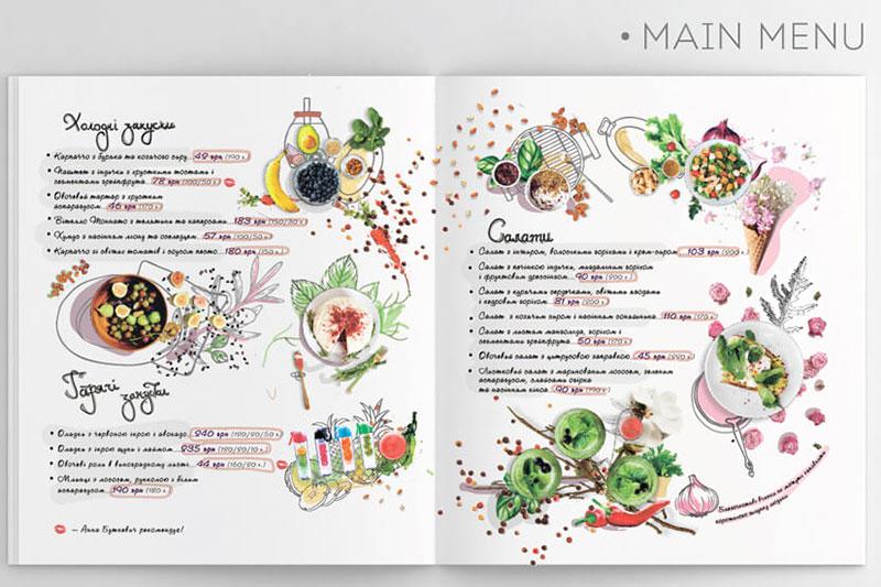Mẫu menu thiết kế màu nước
