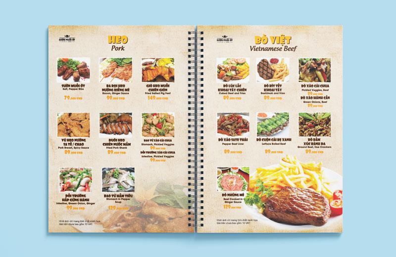 Mẫu thiết kế menu nhà hàng bồi bìa cứng đóng gáy lò xo