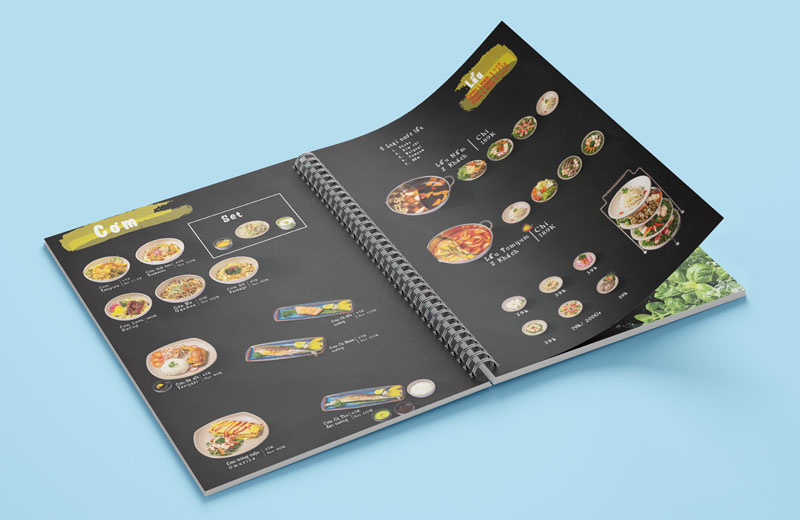 Mẫu thiết kế menu sử dụng hình HQ