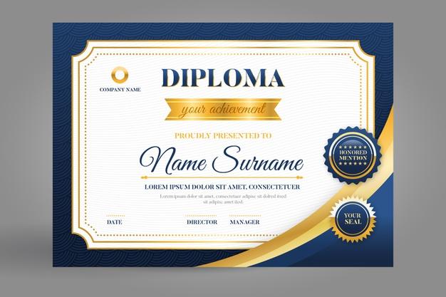 mẫu thiết kế giấy chứng nhận thành tích đẹp