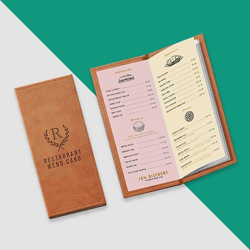 mẫu menu bìa da