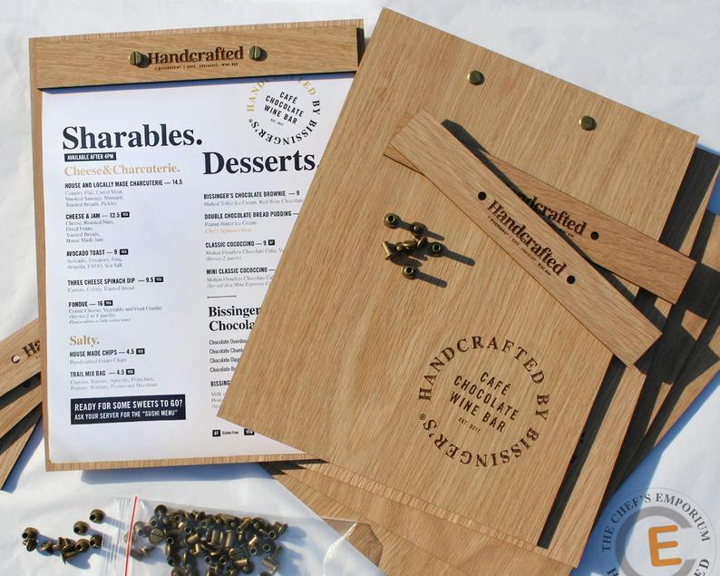 Mẫu menu gỗ 1 tấm