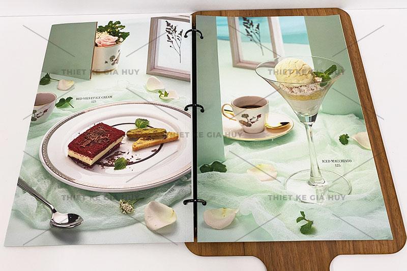mẫu menu gỗ đóng gáy còng đẹp cho quán cafe
