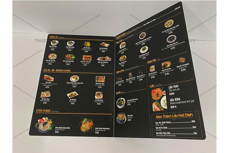mẫu menu bồi nhựa chống nước 100% cho quán ăn vặt