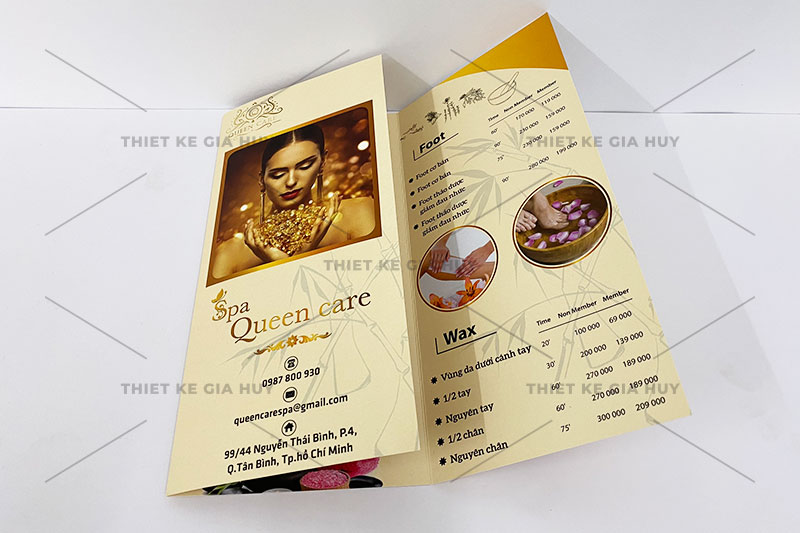 Mẫu thiết kế menu nails-spa gập 3