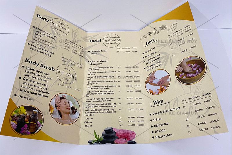mẫu thiết kế menu nails-spa