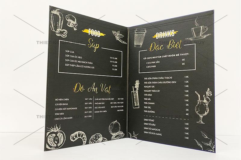 mẫu menu bồi bìa cứng gập đôi