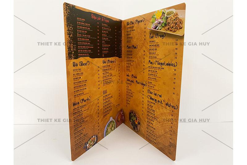 mẫu menu nhựa A3 gập đôi