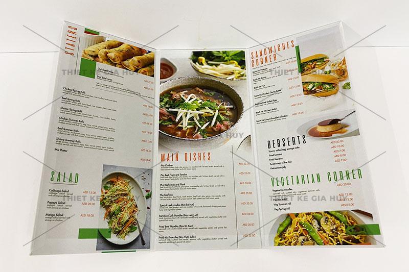 mẫu menu gập 3 dành cho nhà hàng, quán cafe