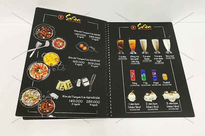 Mẫu thiết kế menu chuỗi nhà hàng mỳ cay SaSin