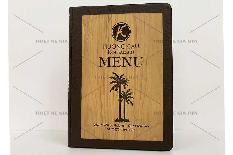 mẫu menu bìa da ép 1 mặt gỗ