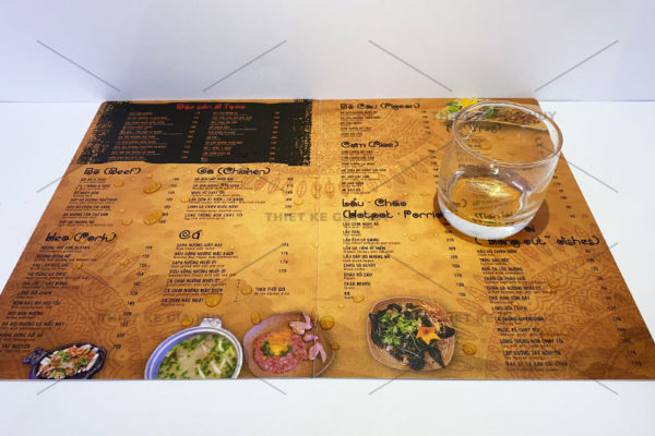 mẫu menu nhựa chống nước 100%