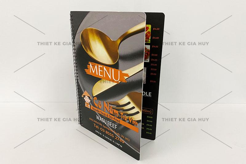 mẫu menu nhựa chống thấm 100% kích thước A4