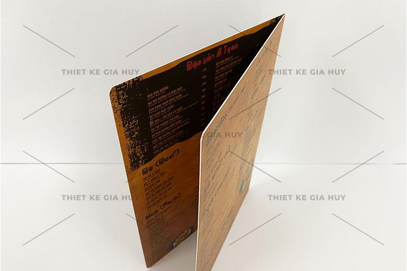 mẫu menu nhựa gập đôi chống nước