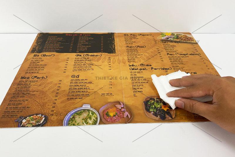dòng menu nhựa dễ dàng lau chùi khi bị lấm bẩn