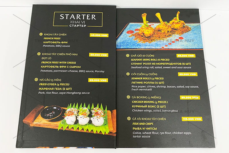 mẫu menu bồi bìa cứng đóng gáy ốc