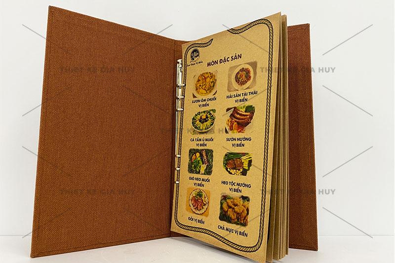 mẫu thiết kế menu với nền giấy kraft
