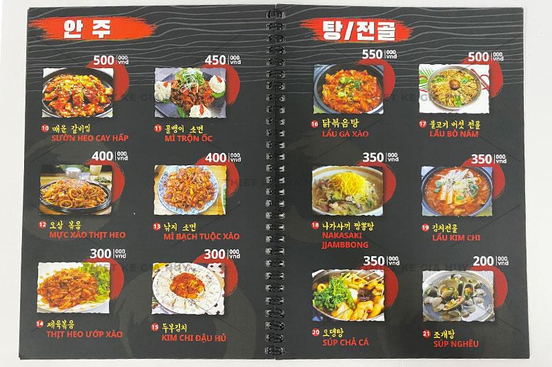 mẫu thiết kế menu nhà hàng Hàn Quốc