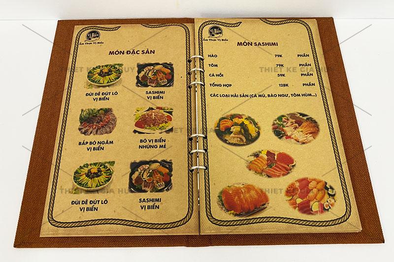 mẫu menu bìa vải linen gáy còng