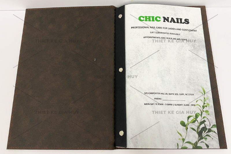 mẫu thiết kế menu nails-spa cao cấp