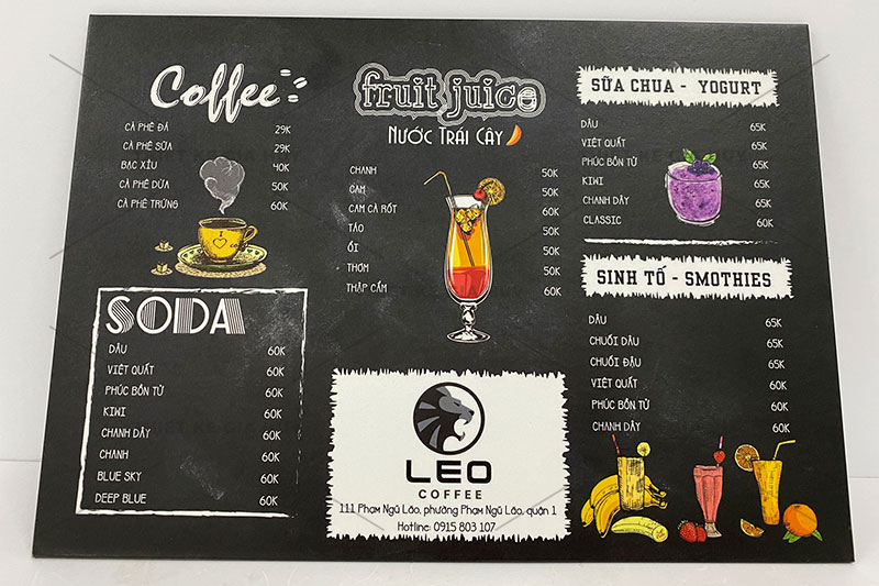 mẫu menu cafe bồi bìa cứng chống nước