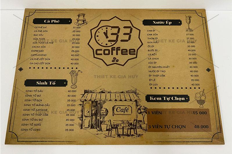 mẫu menu cafe bồi carton kích thước A3