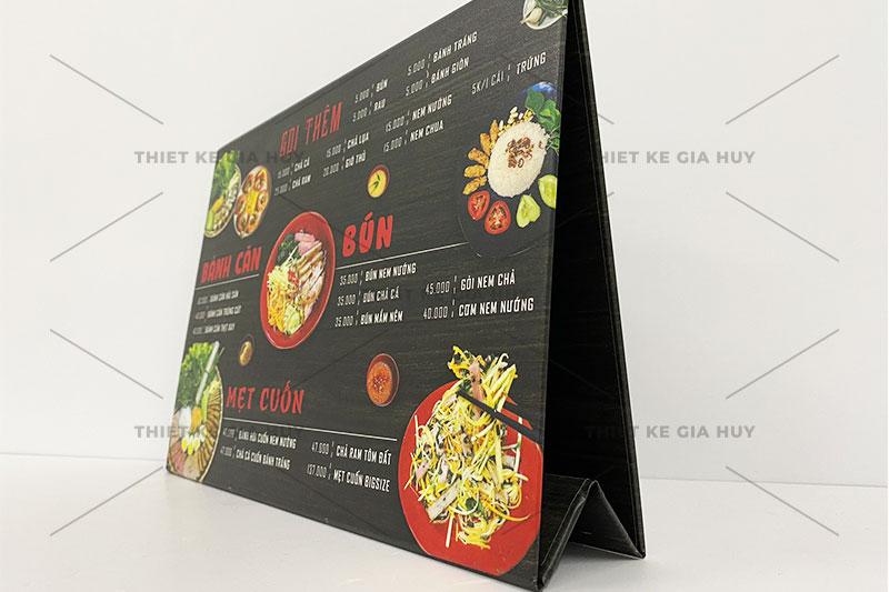 mẫu menu để bàn bồi carton chữ A