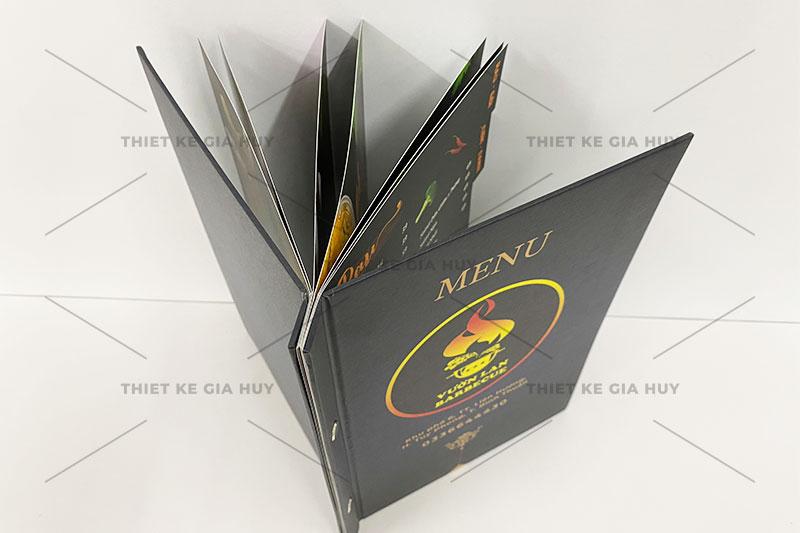 mẫu menu bìa cứng đóng gáy ốc ngoài