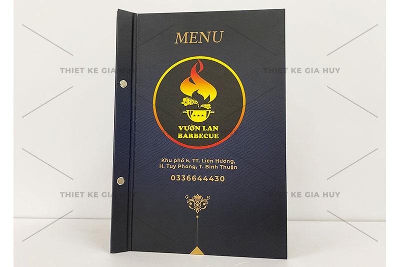 Mẫu menu bìa cứng đóng gáy ốc của nhà hàng Vườn Lan BARBECUE