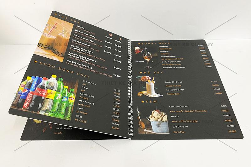 mẫu menu nhựa đóng gáy lò xo